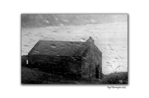 Keem strand the old shed in the rain