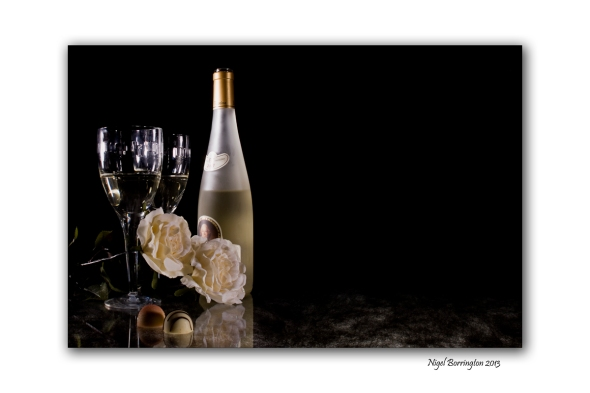 Glass and wine bottle 1 for wedding work