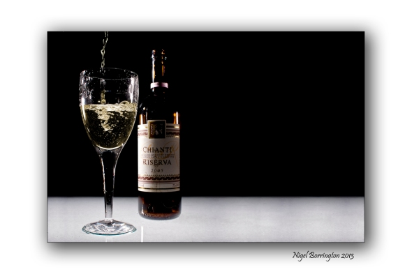 Glass and wine bottle 1