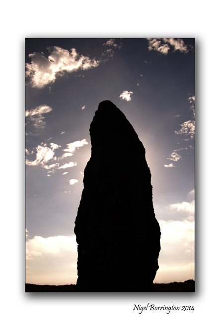 Sunrise behind the standing stone. Knockmealdown Mountains. County Waterford. Irish landscape Photography : Nigel Borrington