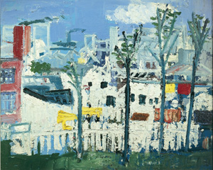 Four Trees, White Fence  by Woodrow, Joash (1927-2006); 99.5x122 cm; Private Collection; 108 Fine Art, Harrogate; British,  in copyright PLEASE NOTE: The Bridgeman Art Library represents the copyright holder of this image and can arrange clearance.