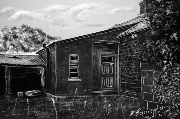 Abansoned Farmhouse chalk sketch Nigel Borrington