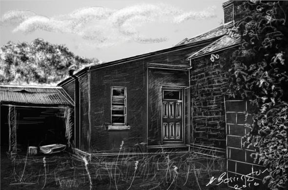 Abansoned Farmhouse chalk sketch Nigel Borrington