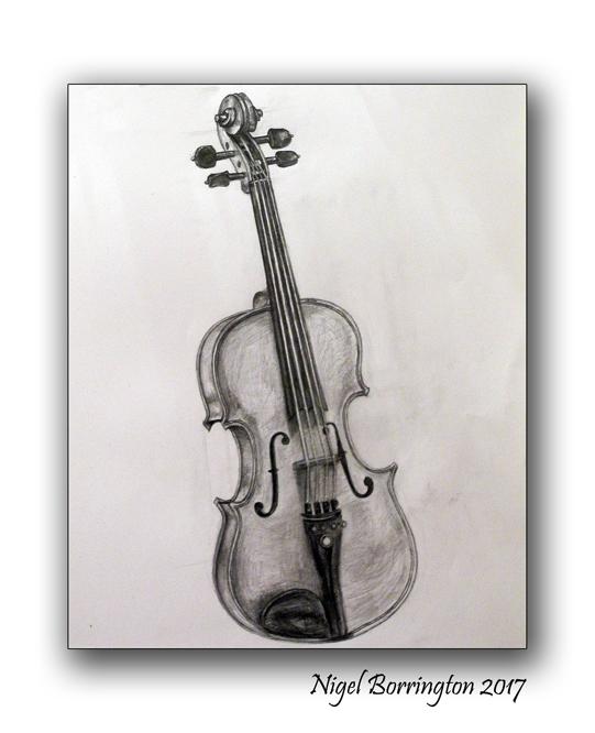 pencil on paper drawing from life my violin nigel borrington