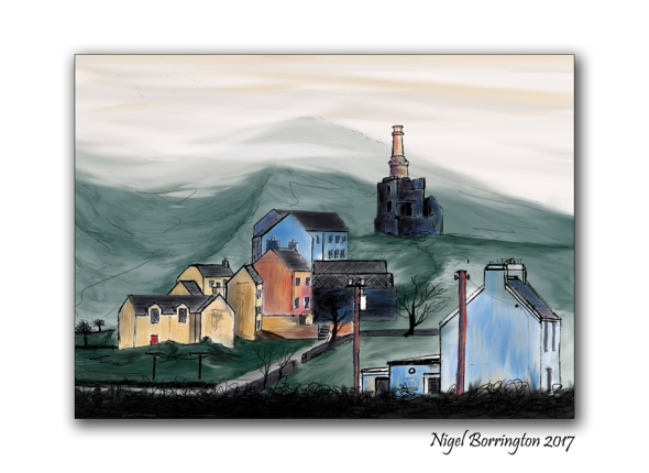Allihies copper Mines and town Irish landscape painting  Nigel Borrington
