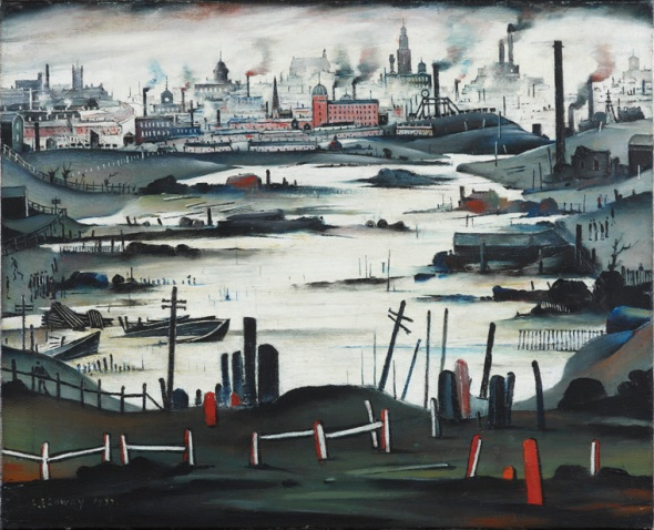 LS Lowry  The Lake Oil on canvas Industrial Landscape of Manchester